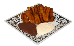 fried plantain with sour cream and beans