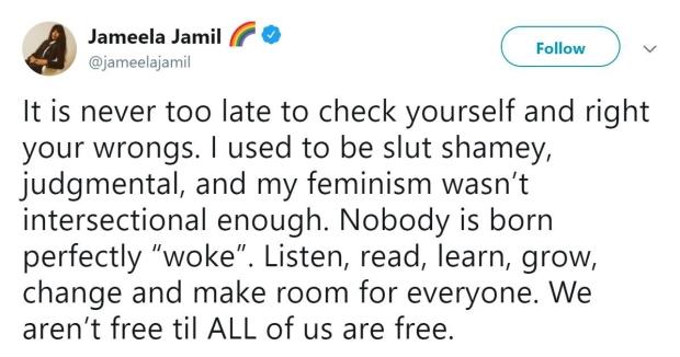 Jameela Jamil - tweeter post